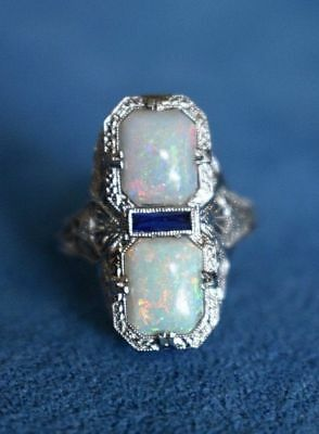 ART DECO CLASSIC ANTIQUE STYLE SILVER WHITE FIRE OPAL RING 8 Gift