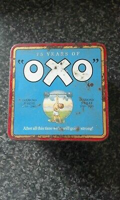 Vintage Tin 75 Years of Oxo,used to contain 48 red Oxo cubes.
