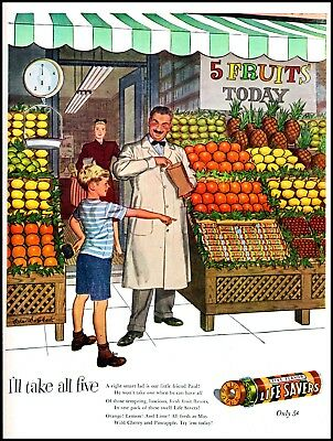 1947 Life Savers candy grocer fruit stand vintage art print ad   (ADL5)