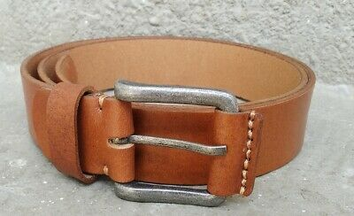 AR Real Full Grain Leather Belt smooth Vintage Natural Casual Belt Jeans Trouser