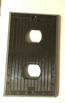 Vintage Art Deco Ribbed Bakelite duplex Despard Cover Plates brown