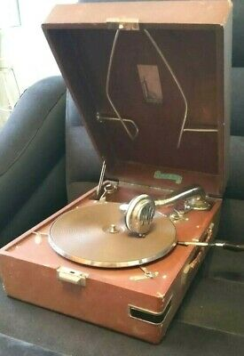 "Vintage USSR GRAMOPHONE PHONOGRAPH Portable Record Player ""friend"" 1940""s"