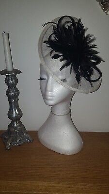 Black and cream / ivory  fascinator/hatinator wedding/races special occasion