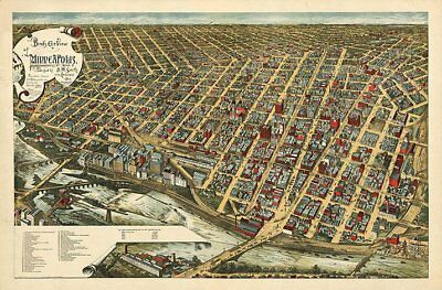 Minneapolis Minnesota c1891 map 36x24
