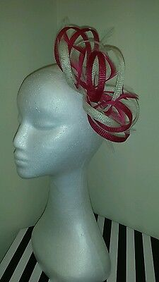 Cerise /fuschia pink and cream/ ivory fascinator wedding/races special occasion
