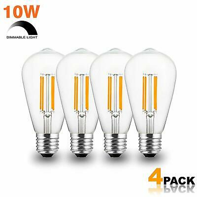Modvera 8W Best Dimmable LED Edison Bulb Filament, Antique, Clear Glass - 4 Pk