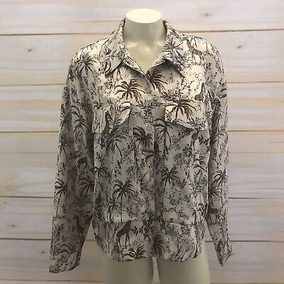 b51881f54ed Zara Shirt Large Button Up Blouse Beige Black Giraffe Trees trf Collection  B83