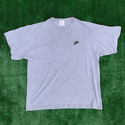 77c2d9fe VINTAGE 90'S NIKE Gray Tag Embroidered Swoosh Gray T Shirt Size XL ...