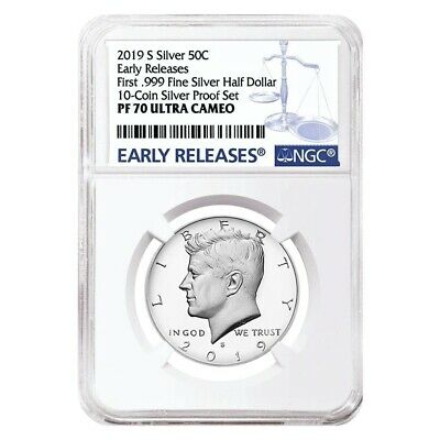 2019 S Proof Silver Kennedy Half Dollar First .999 Fine Silver NGC PF 70 ER