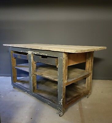 Rustic French vintage kitchen island workshop workbench industrial shop counter
