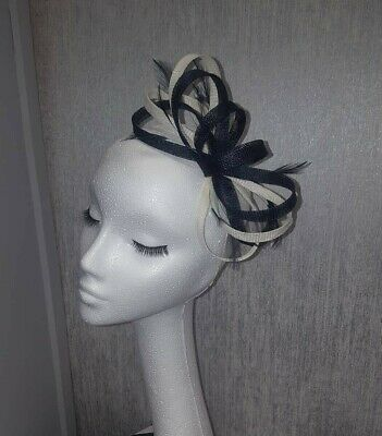 Navy and cream ivory fascinator for wedding races special occasion