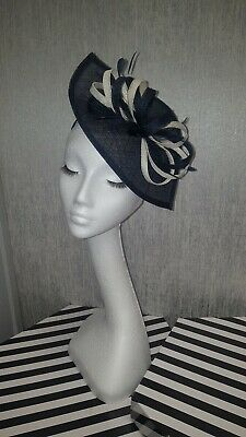 Navy blue and cream ivory fascinator for wedding races special occasion