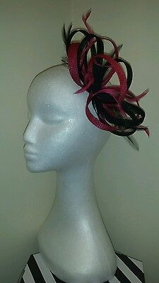 black and cerise/fuschia pink fascinator weddings/special occasions/the races