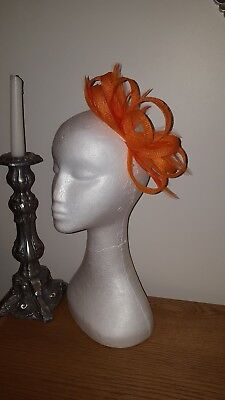 Orange fascinator/hatinator wedding/races special occasion