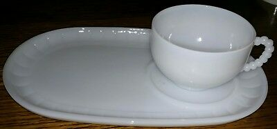 Federal white milk glass sandwich, snack plate and coffee cup heat proof USA
