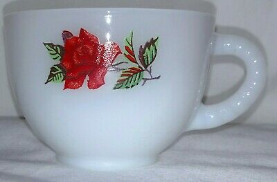 Federal Glass Rosecrest red rose milk white snack flat cup replacement mug only
