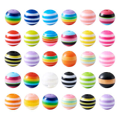 100PCS Resin Beads For DIY Bracelet Jewelry Making Round Stripe Mixed Color 10mm