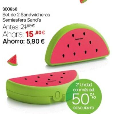 OFERTA!! SANDWICHERA Sandia Tupperware TRANSPORTAR O GUARDAR OBJETOS Y ALIMENTOS