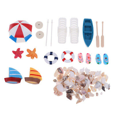 Miniature Beach Set for 1:12 Dollhouse Outdoor Garden Decoration Accessory