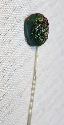 Antique Victorian Sterling Genuine Natural Egyptian Beetle Scarab Stick Hat Pin