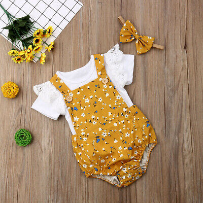 AU 3Pcs Newborn Infant Baby Girl Floral Headband Clothes Ruffle Tops Outfits Set
