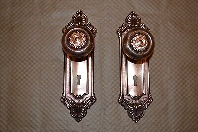 Antique Vintage  One Set Of Victorian  Brass Door Knobs And Faceplates #A42