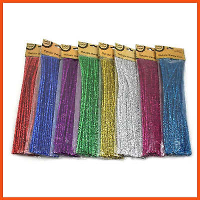 800 x METALLIC CHENILLE STEMS 30 cm | Assorted Colours Pipe Cleaner Tinsel Stems
