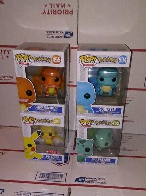 Lot 4 Funko Pop Games Pokemon: Pikachu, Squirtle, Charmander, Bulbasaur. In Hand