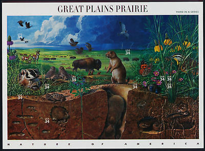 2001 GREAT PLAINS PRAIRIE 3rd Nature of America, Mint Sheet 10 34¢ Stamps #3506