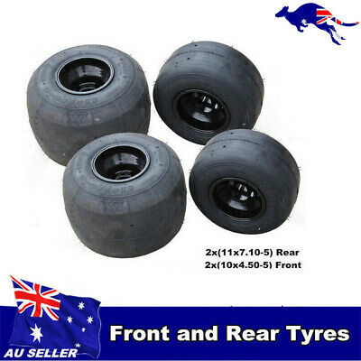 Set (x4) Slick road tire / tyre and rim Wheels 10x4.50-5 11x7.10-5 Go kart buggy