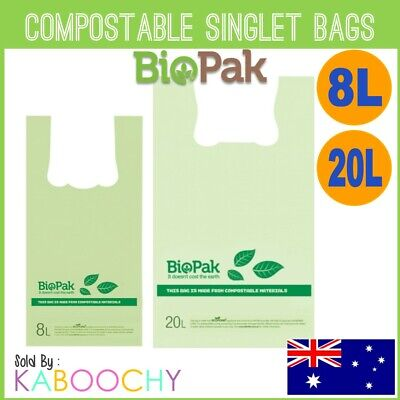Biopak Compostable Plastic Singlet Bags. Checkout Grocery Shopping Bags BULK