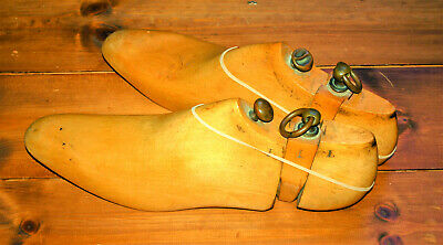 Pair of antique solid wood three part shoe trees,about sz 11.5, Eu 45.5