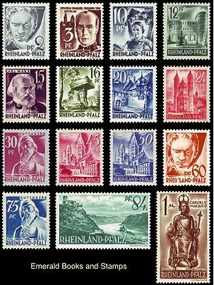EBS Germany 1947 French Zone Rhineland-Palatinate Michel 1-15 MNH**