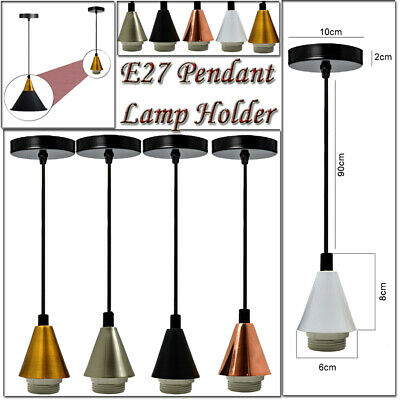 Vintage Ceiling Rose Pendant Braided Fabric Flex Lamp Holder Fitting Light Kit