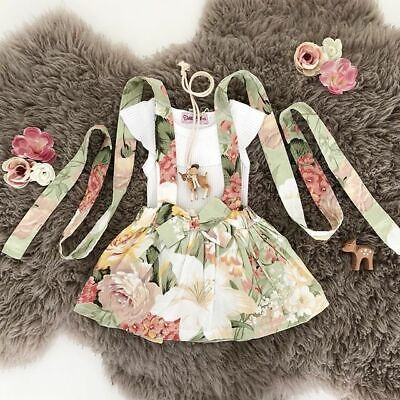 AU Toddler Newborn Baby Girl Floral Romper Top+Short Skirt Dress Outfits Clothes