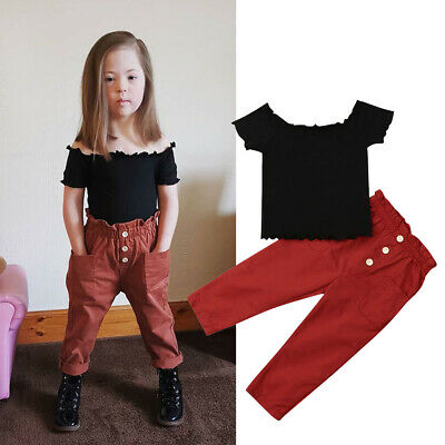 AU Kids Baby Girls Off Shoulder Tops Long Pants Leggings 2Pcs Outfit Set Clothes