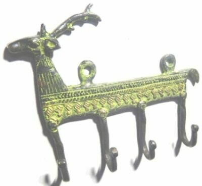 Deer Shape Antique Vintage Finish Handcrafted Brass Cup Cloth Wall Hanger 4 Hook