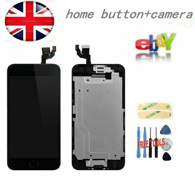 """Black iPhone 6 Full 4.7"""" Replacement Home Button+Camera For LCD Screen Digitizer"""