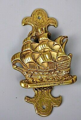 Brass Vintage Door Knocker Galleon Ship Golden Hind