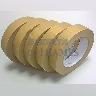 5 x 25mm 50M Self Adhesive Backing Paper Tape Picture Framing Canvas Craft Brown
