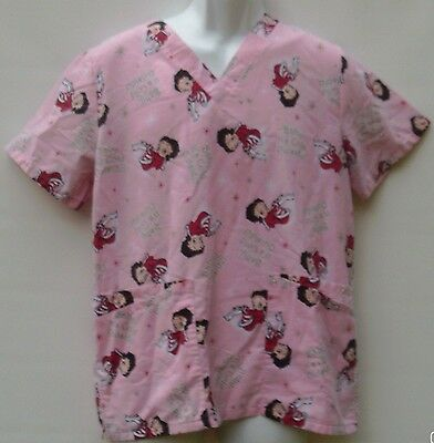 529207f144f Betty Boop Women's Size Small Scrub Pink Baby Its Cold Medical Nursing