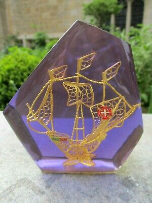 Vintage Retro Lucite Paperweight Purple Resin Kitsch Portugal Ship 1960s 1970s