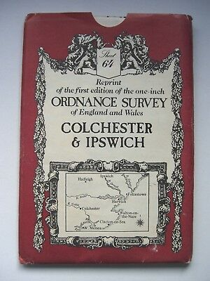 Colchester and Ipswich - Victorian Ordnance Survey OS Map No. 64