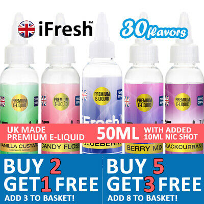 50ML E LIQUID VAPE JUICE | ifresh 0MG 3MG & 6MG HIGH VG SHAKE & VAPES Free Nic