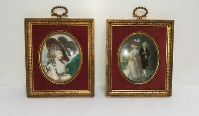 Pair of Antique C. 19th Oval Miniatures Hand Painted on Bone