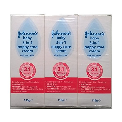 Johnsons Baby 3 in 1 Nappy Care Cream with Zinc Oxide - 3 x 110gm…