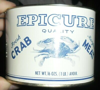 Epicure 1lb Crab Tin Cambridge Maryland  Can