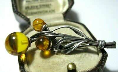 Beautiful Vintage Sterling Silver & Baltic Amber Art Nouveau Style Brooch Pin