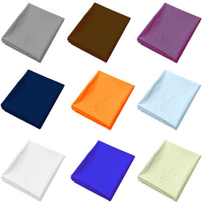 Plain Dyed Flat Top Sheet OR Pillowcases Single , Double , King , Bed Sizes UK,