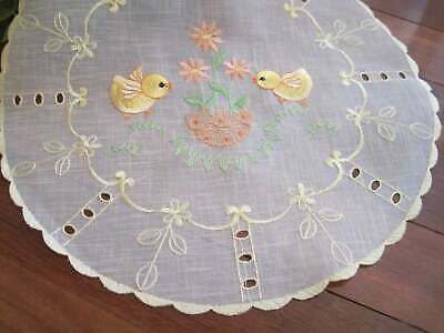 Pretty Chicken Flower Embroidery Cutwork Sheer Yellow Round Doily